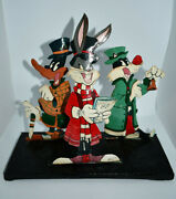 Loony Tunes Bugs Daffy Sylvester Metal Sculpture Signed 1992 Warner Brothers