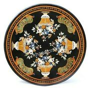 50 Inch Black Marble Dining Table Top Stone Reception Table Handmade From India