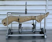 30andrdquo Vintage De Puy Medical Wood And Metal Surgical Oddities Leg Traction Device