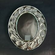 Lalique Boutons De Roses Oval Mirror Signed Lalique France With Hanging Ring