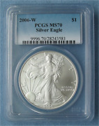 2006-w Burnished American Silver Eagle Pcgs Graded Ms70/sp70 S1 Uncirculated