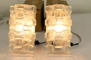 Vtg Pair Mirror Ligths Ice Glass And Crome Wall Lamps Nos Mid Century 1970's