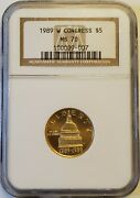 1989-w Congress 5 Uncirculated Modern Commemorative Gold Coin Ngc Ms70