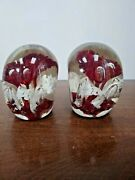 Large Antique Blown Glass Flower Pair Of Bookends - Heavy