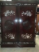 Asian Rosewood Bar Cabinet, Cherry Finish, Mother Of Pearl Inlay