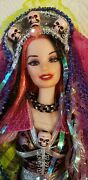 Stunning Ooak Day Of The Dead Barbie Doll Skulls Lace Sequins Pink Purple Black