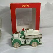 Spode Porcelain Fire Truck Christmas Tree Ornament Green Gold Red Ribbon In Box
