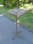Antique Adjustable Industrial Metal Iron Wood Lectern Music Hostess Stand Podium