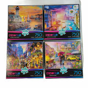 Buffalo Games 750 Pc Jigsaw Puzzles Lot Of 4 Puzzles Cities In Color