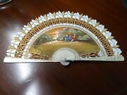 Collectable Vintage Victorian Scene Hand Fan ,white,gold.