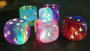 Five 5 Large Chessex Og Borealis Oop Dice 20mm Pipped Chonkers D6 + 12mm Pip