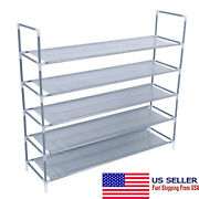 5 Tiers Non-woven Fabric Shoe Rack With Handle Simple Assembly New