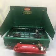 Vintage Green Coleman Camp Stove 425d Two Burner 1950s-60s Wind Screens Red Legs