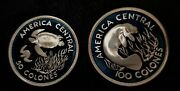 2 Pcs 1974 Costa Rica Wildlife 50 And 100colones Silver Ultra Cameo Royal Mint