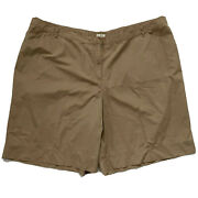 J. Jill Womenandrsquos Solid Tan Casual Shorts 10.5andrdquo Inseam Lightweight Cotton Size 26w