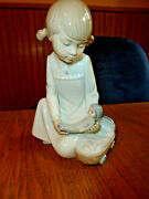 Retired Lladro Nao Figurine Girl With Doll Baby Carriage Excellent Condition