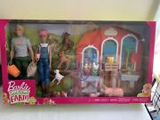 Barbie Sweet Orchard Farm Playset W/ Barbie And Ken Dolls Barn, Fence And 11 Animals