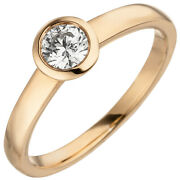 Womenand039s Ring 585 Gold Rose Gold 1 Diamond 015 Ct Solitaire Ring