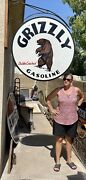 """Huge''grizzly '' Gasoline Porcelain Double Sided Sign 42"""" Sign Only"""