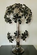 Vtg Lucite Lamp 70and039s Flower Power Rare Dimmable Double Lighting Black Clear 29