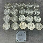 1961-d Uncirculated Silver Franklin Half Dollars Roll 10 Face Value A1d