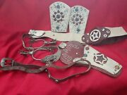 Vintage Leather Tooled Studded Gene Autry Holster With 2 Belts Spurs And Cuffs