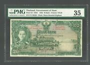 Thailandp-25,1935,20 Baht, Pmg 35 Government Of Siam Banknote
