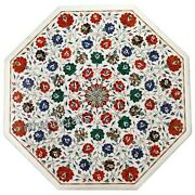 Semi Precious Stones Inlay Dining Table Top Marble Living Room Table 36 Inches