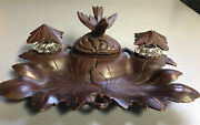 Antique Black Forest Carved Bird Double Glass Inkwell Pen Tray Nib Box