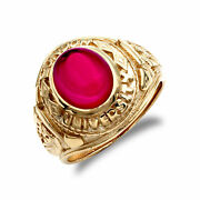 Mens 9ct Gold Red Cz Cabochon Solitaire University College Ring