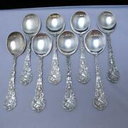 8 Pc Lot Gorham Sterling Silver Versailles Round Bowl Soup Spoons 400.3g J666
