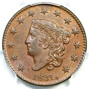 1831 N-12 Pcgs Ms 62 Bn Cac Matron Or Coronet Head Large Cent Coin 1c