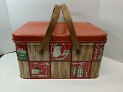 Vintage 1950and039s Red Green Metal Picnic Tin Basket W/ Wood Handles Mid Century