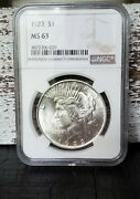 1923 P Peace Silver Dollar Ngc Ms63 Pretty Uncirculated 1 Coin