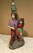 """Tuscany Studio Inc. """"hippie Couple At Bus Stop"""" 806 Chalk-ware Lamp-signed"""