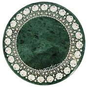 30 Inches Green Marble Dinette Table Mother Of Pearl Work Coffee Table For Home