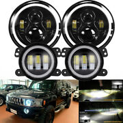 4pcs 7 Led Headlight And 4and039and039 Fog Light Combo Kit For 2006-2010 Hummer H1 H2 H3