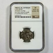 Ngc Vf Thrace Isle Of Thasos Ancient Greek Silver Stater 525-450 Bc Satyr Nymph