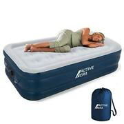 Air Mattress With Built-in Pump - Puncture Resistant Air Bed With Premium Twin
