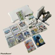 White Nintendo Wii Rvl-001 Wii Fit Plus And Board Bundle Mario Cart Tested Works