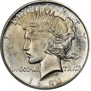 1921 1 Peace Dollar - Type 1 High Relief Pcgs Ms64 Cac 3295-10