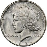 1921 1 Peace Dollar - Type 1 High Relief Pcgs Ms64 3295-16