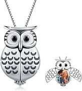 925 Sterling Silver Owl Heart Photo Locket Necklaces Owl Jewelry Gifts For Women