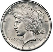 1921 1 Peace Dollar - Type 1 High Relief Pcgs Au58 Cac 3296-2