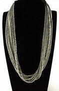 37.75 10-strand Sterling Silver Bead Necklace By Navajo Artist Jan Mariano