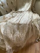 Antique 1920's Silk Chemise French Brussels Lace Panels Wedding Gown Pearl Beads