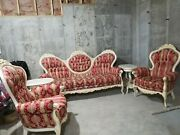 Victorian Furniture--antique Living Room Set --6 Pieces, Red, Couch, Chairs,