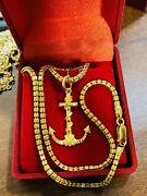 22k 916 Yellow Real Saudi Gold 16andrdquo Long Womenandrsquos Mariner Set Necklace 15.63 3.2mm