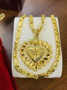 22k 916 Yellow Real Saudi Uae Gold 18andrdquo Long Womenandrsquos Heart Necklace 16.15g 5mm