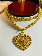 22k 916 Yellow Real Saudi Uae Gold 20andrdquo Long Womenandrsquos Heart Necklace 16.66g 6mm